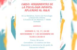 """Noviembre/Diciembre: """"Herramientas de la Psicología Infantil Aplicadas al Aula"""""""